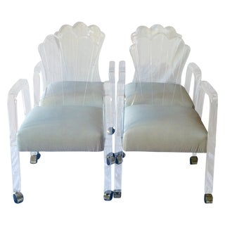 Scalloped Back Lucite Dining Chairs - Set of 4