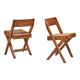 Pierre Jeanneret pair of Chandigarh High Court library chairs, 1950s