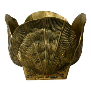 Mid-Century Brass Shell Planter