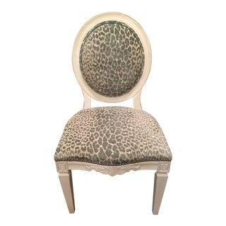 J. Mathews Boudoir Gray Animal Print Upholstered Occasional Chair