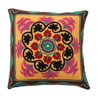 Vintage Embroidered Cotton Pillow