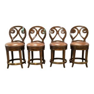 Artistica Wood & Leather Counter Stools - Set of 4