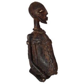 Dogon Stone & Bronze Seated Man Figure