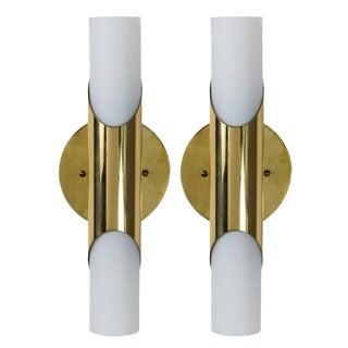 1960s Neuhaus Leuchten Glass & Brass Sconces - A Pair