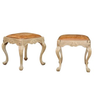 Pair of Louis XV Style Wooden Stools with Warm Leather Seats and Cabriole Legs