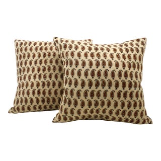 Vintage Paisley Block Print Pillows - A Pair