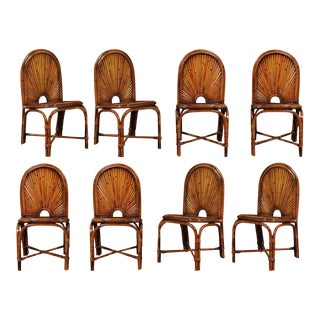 Spectacular Restored Set of Eight Bamboo Chairs in the Style of Gabriella Crespi, circa 1975