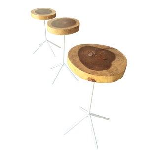 Oak Wood Side Tables - Set of 3