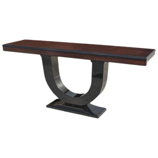 1940s French Art Deco Macassar Ebony Console Table
