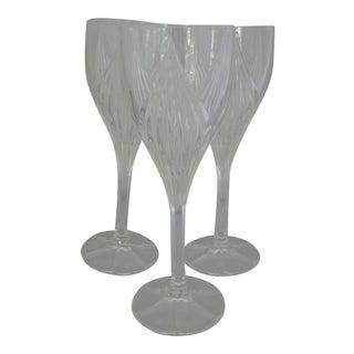 Tulip Shaped Cut Crystal White Wine Glasses - Set of 3