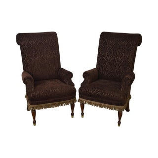 Drexel High Back Upholstered Host Arm Chairs - a Pair