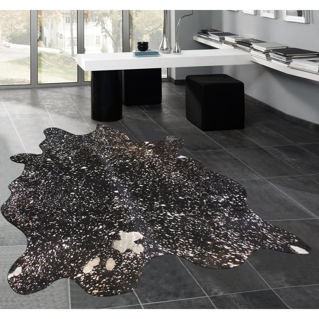 "Black Cowhide Rug- 5'10"" X 7'4"" - Image 4 of 4"