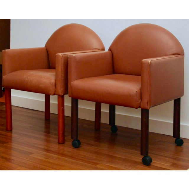 Postmodern Leather Chairs, Set of 2 - Image 2 of 11