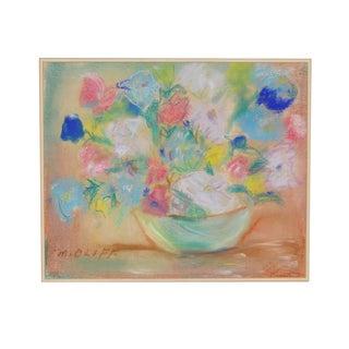 M. Oloff Vintage Pastel Floral Still Life Painting