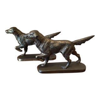 Early 20th c. Solid Bronze Pointer Bookends c. 1940s