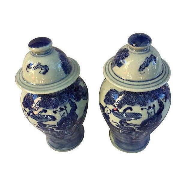 Blue & White Lidded Ginger Jars - A Pair - Image 2 of 4