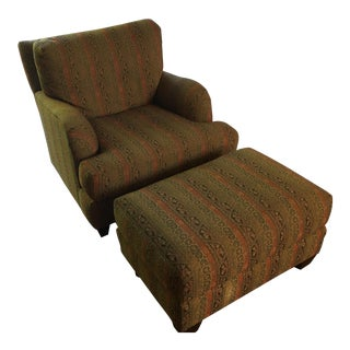 Middle Eastern Pattern Chair & Ottoman - A Pair