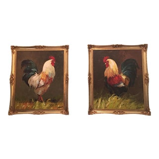 Rooster Oil Paintings From Spain - A Pair