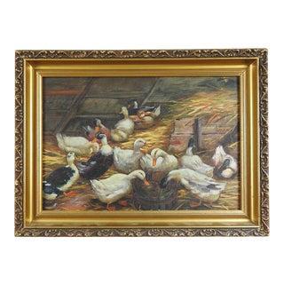 Antique Duck Oil Painting