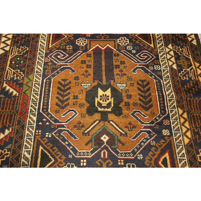 "Brown & Navy Balouch Runner Rug - 3' x 9'10"" - Image 6 of 9"