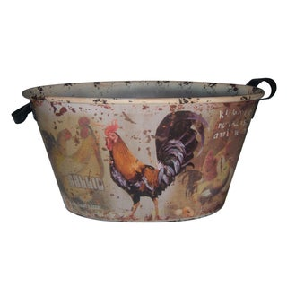 Country Rooster Tin with Leather Handles