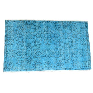 "Turkish Over-Dyed Turquoise Rug - 1'11"" x 3'3"""
