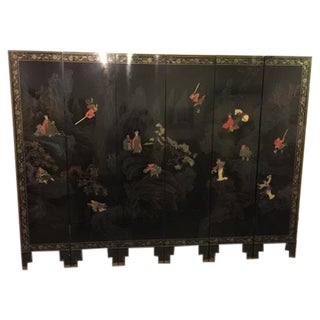 Vintage Chinese Six-Panel Room Screen