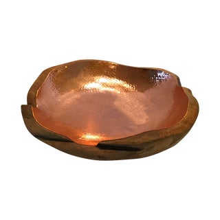 Hand Carved Wooden Bowl Lined in Hammered Copper