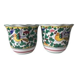 Deruta Hand Painted Cachepot Planters - A Pair