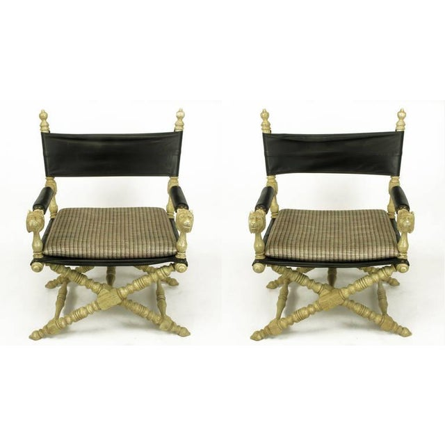 Pair Driftwood Oak & Black Leather Carved Lion Head Campaign Chairs - Image 2 of 10