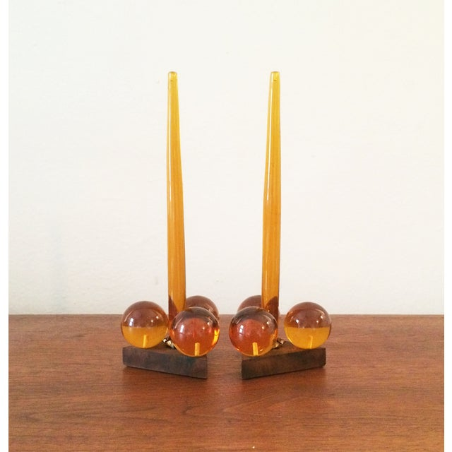 Vintage Amber Resin & Wood Candleholders - A Pair - Image 2 of 7
