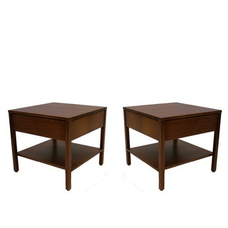 Florence Knoll Walnut Nightstands End Tables- Pair