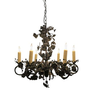 Black Rose Wrought Iron Floral Chandelier