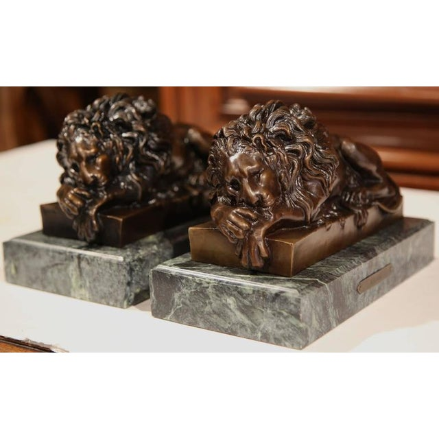19th Century French Bronze Lions on Marble Bases Signed J. Moigniez - a Pair - Image 8 of 10