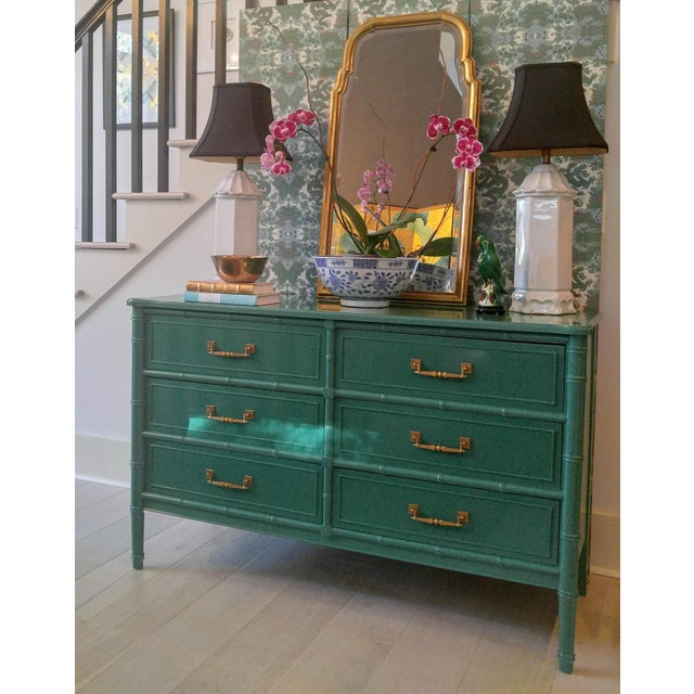 Henry Link for Dixie Green Faux Bamboo Dresser - Image 2 of 10