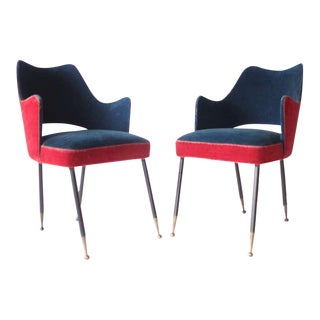 Pair of Red & Blue Velvet Chairs