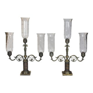 Pair of 3-glass Classical Figural Lighting Candelabras