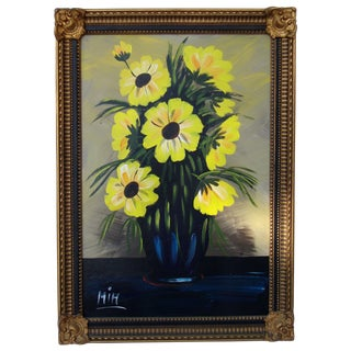 Original Framed Yellow Floral Painting
