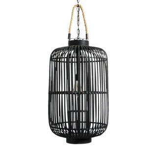 Tall Black Bamboo & Rope Lantern