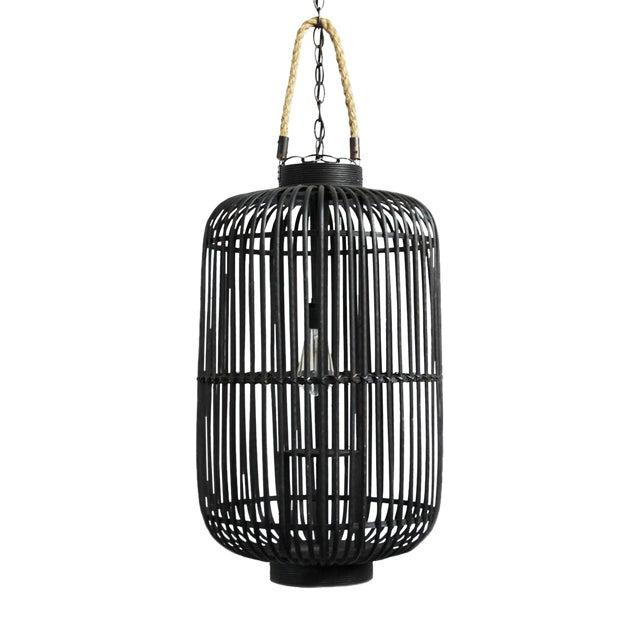 Tall Black Bamboo & Rope Lantern - Image 1 of 2