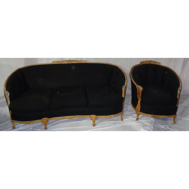 Image of Antique Black Chair With Carved Wood Rails