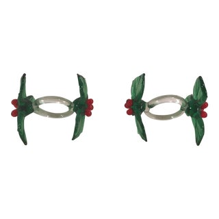 Blown Glass Holiday Napkin Rings - Set of 2