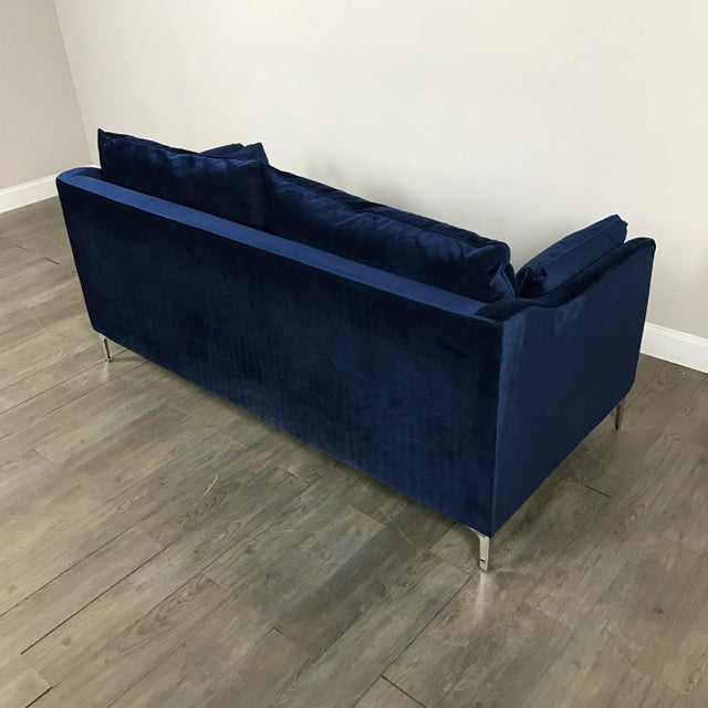 Royal Blue Velvet Sofa - Image 8 of 11