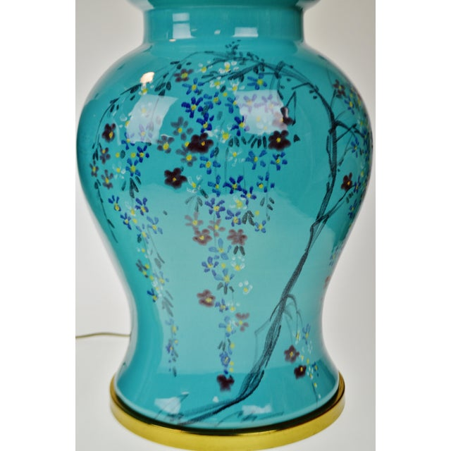 Vintage Large Scale Aquamarine Blue Hand Painted Asian Ginger Jar Lamps - A Pair - Image 3 of 11