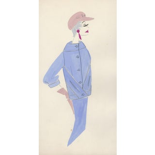 French Original 1959 Fashion Drawing III