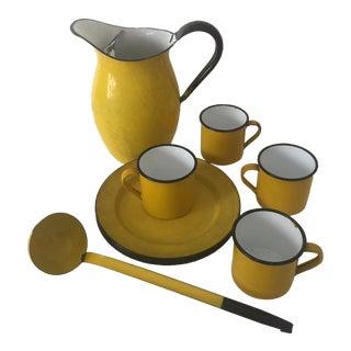 12-Piece Yellow Mid-Century Enamelware Dinnerware