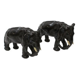 Bronze Elephant Bookends - A Pair