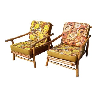 C.1950's Ficks Reed Bamboo Rattan Lounge Chairs - A Pair