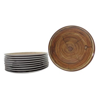 "Faux Wood-Grained 9"" Plates - Set of 10"