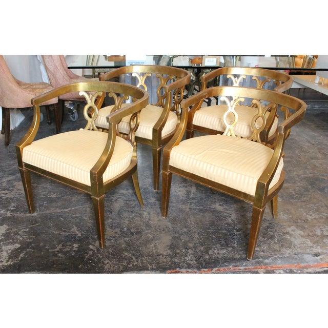 Regency Gold Leaf Barrel Chairs - Set of 4 - Image 4 of 8